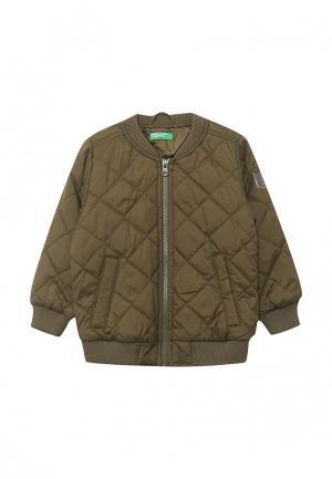 Куртка утепленная United Colors of Benetton. Цвет: хаки