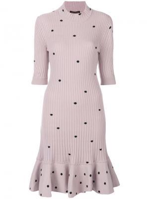Платье-свитер с узором в горох Giambattista Valli. Цвет: розовый и фиолетовый