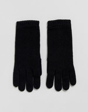 Johnstons of Elgin Черные перчатки из 100% кашемира. Цвет: черный