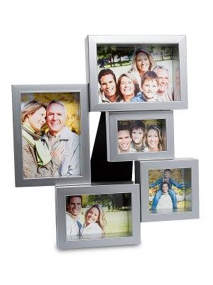 Фоторамка настенная Семейная история на 5 фото Bellezza casa. Цвет: серебристый