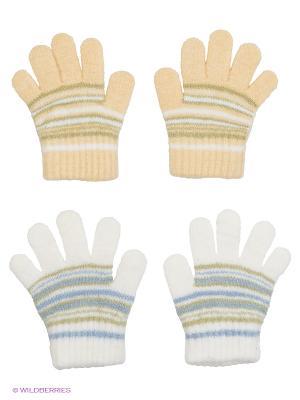 Перчатки, 2 пары FOMAS. Цвет: бежевый, белый, голубой