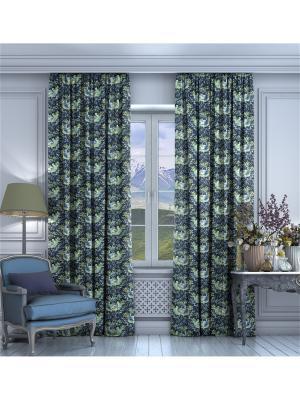 Комплект штор Луара Tricotika. Цвет: синий, оливковый, светло-бежевый, черный