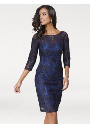 Кружевное платье PATRIZIA DINI. Цвет: королевский синий