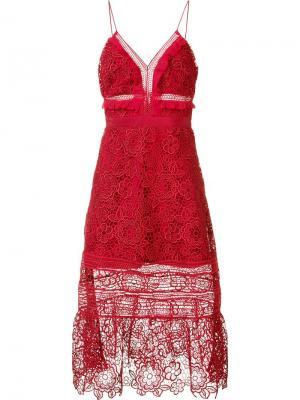 Кружевное платье миди Self-Portrait. Цвет: красный