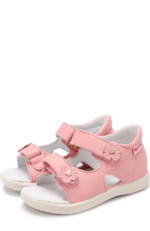 Кожаные сандалии с застежками велькро и декором Falcotto. Цвет: розовый