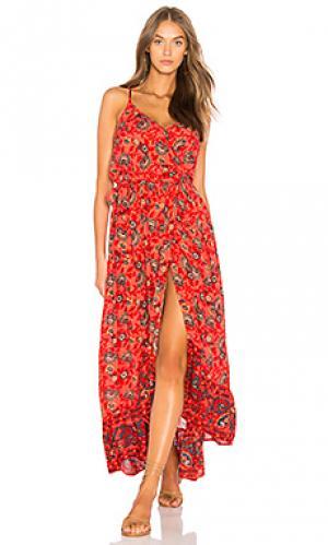 Платье с запахом bohemian Band of Gypsies. Цвет: красный