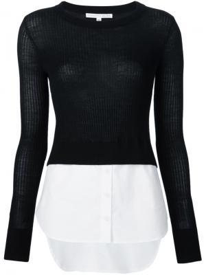 Джемпер с подолом от рубашки Veronica Beard. Цвет: чёрный