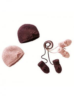 Комплект (шапка и варежки) 3Suisses. Цвет: розовый