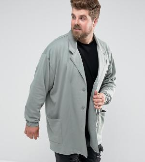 ASOS Зеленое свободное супердлинное пальто из трикотажа PLUS. Цвет: зеленый