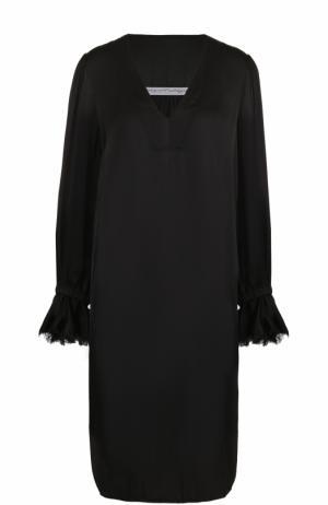 Платье свободного кроя с V-образным вырезом Raquel Allegra. Цвет: черный