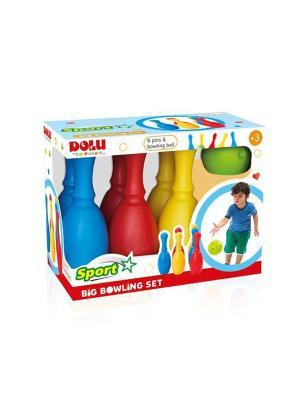 Большой набор боулинг из 6 кеглей и 1 шаром DOLU. Цвет: синий, желтый, красный