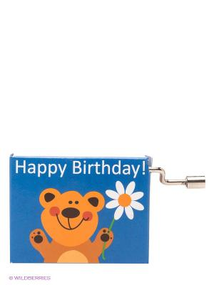 Музыкальная шкатулка Медвежонок с цветком FRIDOLIN. Цвет: синий