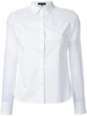 Рубашка с прозрачной вставкой Loveless. Цвет: белый