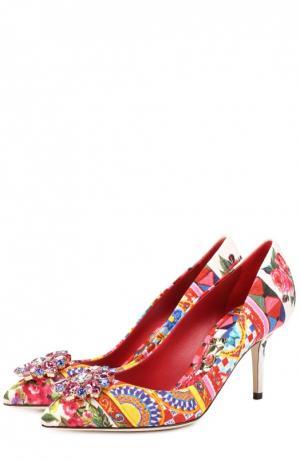 Текстильные туфли Bellucci с брошью Dolce & Gabbana. Цвет: разноцветный