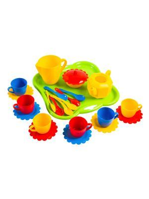 Набор посуды Ромашка 24 эл. ТИГРЕС. Цвет: синий, зеленый, красный, желтый