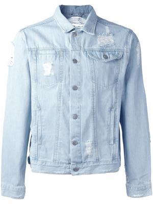 Джинсовая куртка с потертой отделкой Misbhv. Цвет: синий