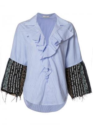 Рубашка Thin Stripe Tweed Ruffle Tome. Цвет: синий