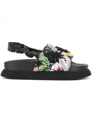 Сандалии с цветочной вышивкой Antonio Marras. Цвет: чёрный
