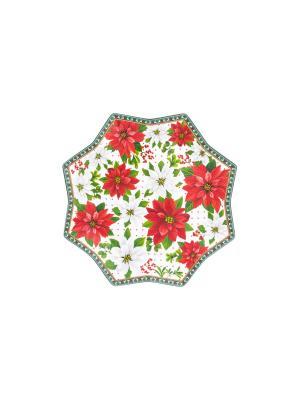 Блюдо сервировочное Новогодняя сказка Elan Gallery. Цвет: красный, белый, зеленый