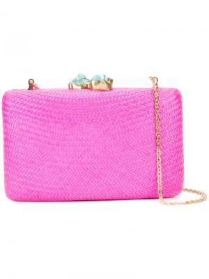 Плетеный клатч с камнями на защелке Kayu. Цвет: розовый и фиолетовый