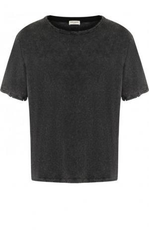 Хлопковая футболка с потертостями Saint Laurent. Цвет: черный