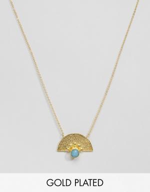 Ottoman Hands Ожерелье с синим агатом. Цвет: золотой