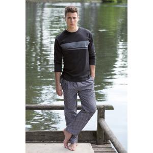 Пижама длинная с рисунками DANIEL HECHTER LINGERIE. Цвет: черный + серый меланж