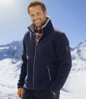 Флисовая Куртка с Подкладкой из Шерпы AFM. Цвет: темно-синии