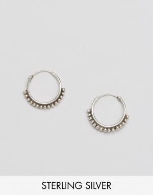 Fashionology Серебряные серьги‑кольца с шариками. Цвет: серебряный
