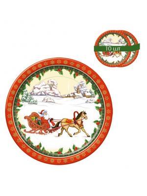Набор одноразовых десертных тарелок Дед Мороз на санях, диаметр 22,5 см, 10 шт/упак Bulgaree Green. Цвет: белый, зеленый, красный