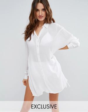 Akasa Белая пляжная рубашка. Цвет: мульти