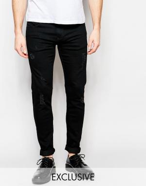 D.I.E Черные супероблегающие джинсы с потертостями . Smoke. Цвет: черный