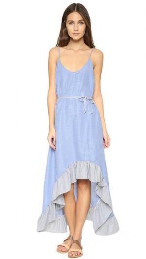 Пляжное макси-платье Wild One Thayer. Цвет: темно-синий/черная клетка гингем