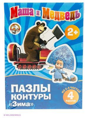 Пазл. 4 детали Маша и медведь. Цвет: голубой, синий