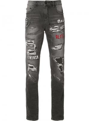 Рваные джинсы кроя скинни Haculla. Цвет: чёрный