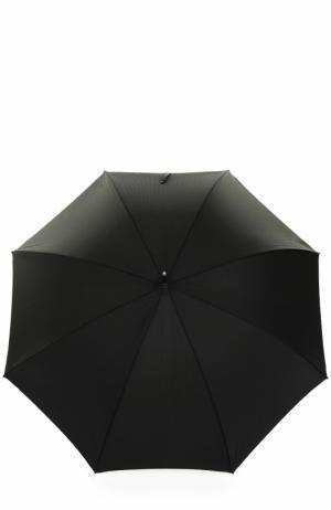 Зонт-трость с отделкой кристаллами Swarovski Pasotti Ombrelli. Цвет: черный