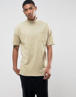 ASOS Оверсайз-футболка с воротником-стойкой и карманом. Цвет: бежевый