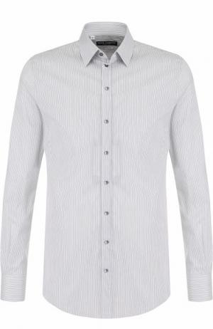 Хлопковая сорочка с воротником кент Dolce & Gabbana. Цвет: серый
