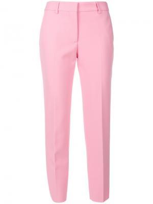 Укороченные прямые брюки MSGM. Цвет: розовый и фиолетовый