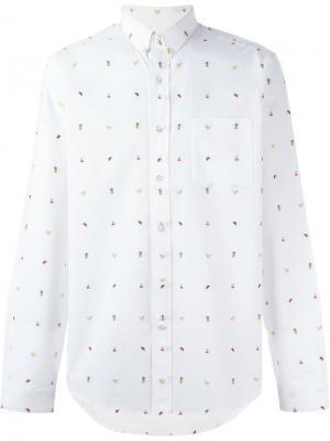 Рубашка с вышитыми фруктами Ami Alexandre Mattiussi. Цвет: белый