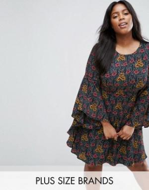 Koko Свободное платье размера плюс с оборками на рукавах. Цвет: черный