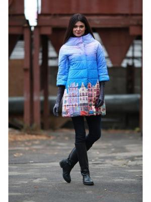 Стеганое пальто ДушеГрея. Цвет: синий