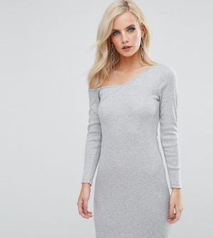 ASOS Petite Облегающее платье в рубчик на одно плечо с длинным рукавом. Цвет: серый
