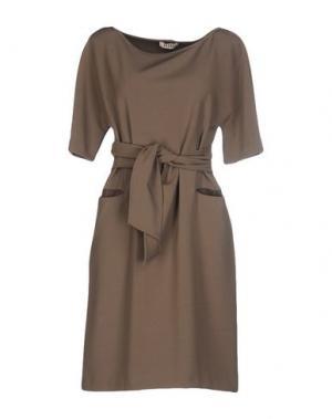 Короткое платье NIU'. Цвет: голубиный серый