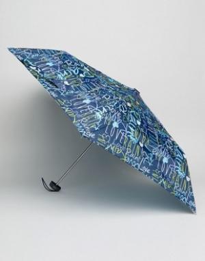 Totes Темно-синий зонт с принтом граффити. Цвет: синий