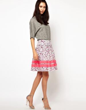 Lulu & Co Пышная юбка с совиным принтом и неоновой отделкой. Цвет: мульти