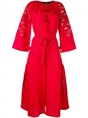 Платье с запахом и перфорацией Vita Kin. Цвет: красный