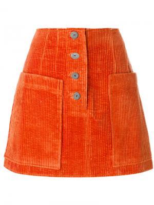 Вельветовая юбка А-образного силуэта Rejina Pyo. Цвет: жёлтый и оранжевый