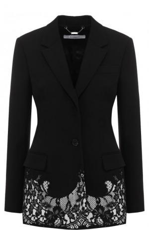 Приталенный шерстяной жакет с кружевной отделкой Givenchy. Цвет: черный