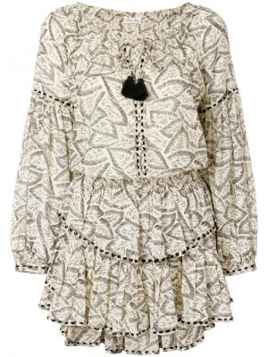 Платье с цветочным принтом и кисточками Love Shack Fancy. Цвет: телесный